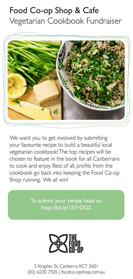 Submit Vegan recipes to Food Co-Op Vegetarian Cookbook Fundraiser