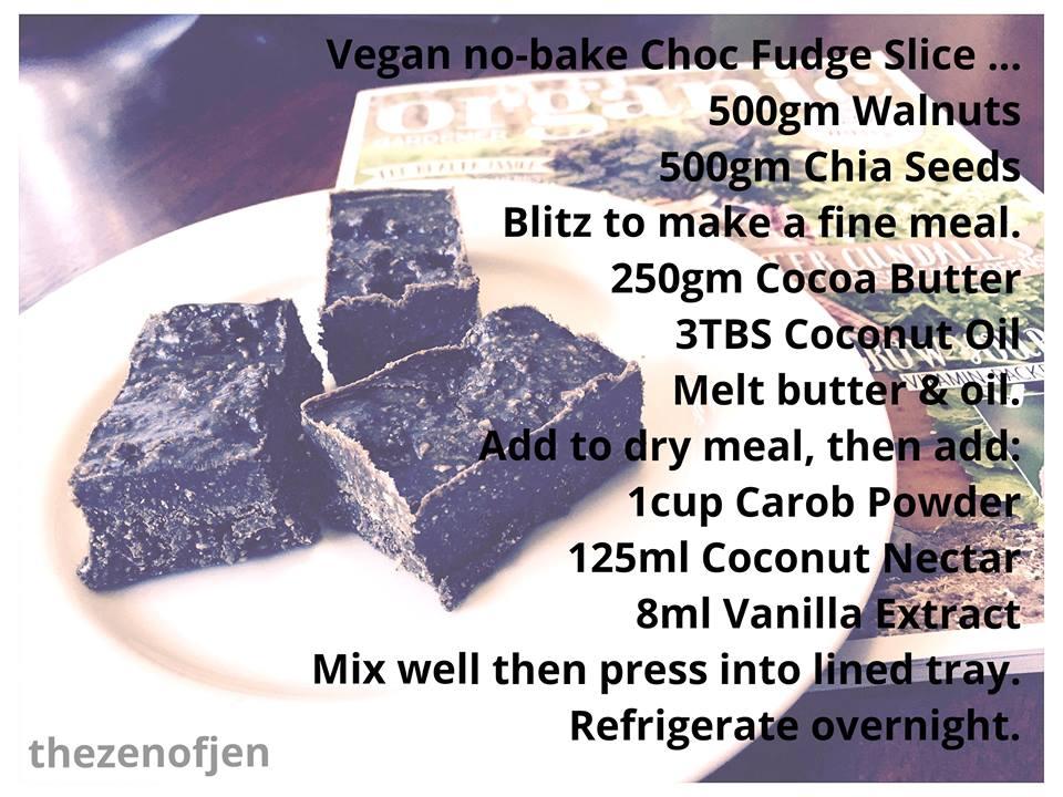 Vegan No-Bake Choc Fudge Slice Recipe