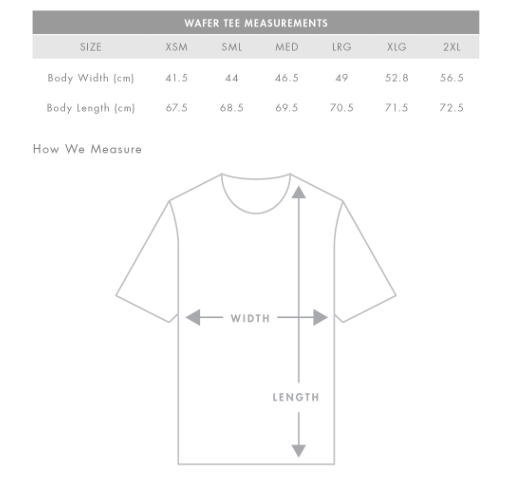Fitted (Female cut) Wafer Tee Measurements