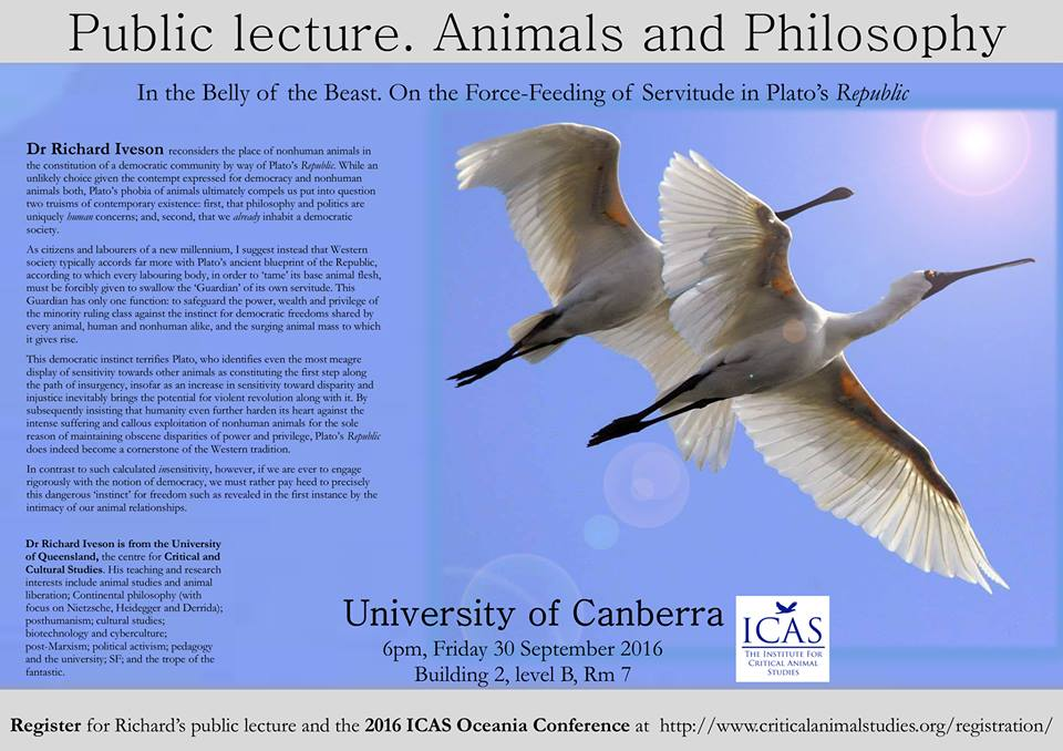 ICAS Free Public Lecture:  Animals and Philosophy – Friday, 30 September 2016