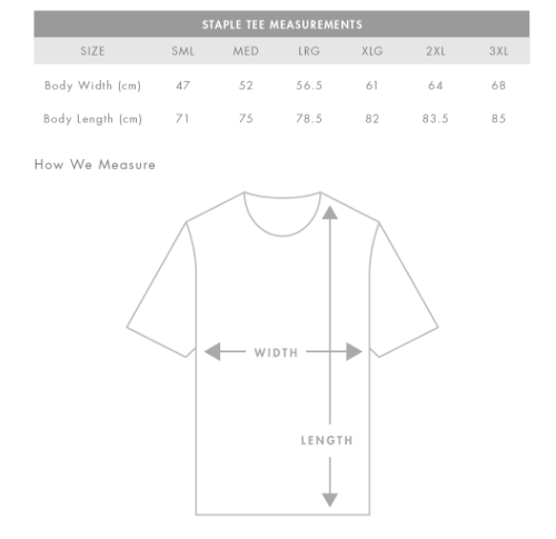 Unisex (Male cut) Staple Tee Measurements