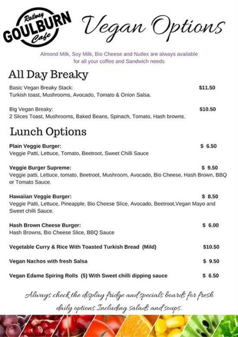Angel's Railway Cafe Vegan Menu – Goulburn, NSW