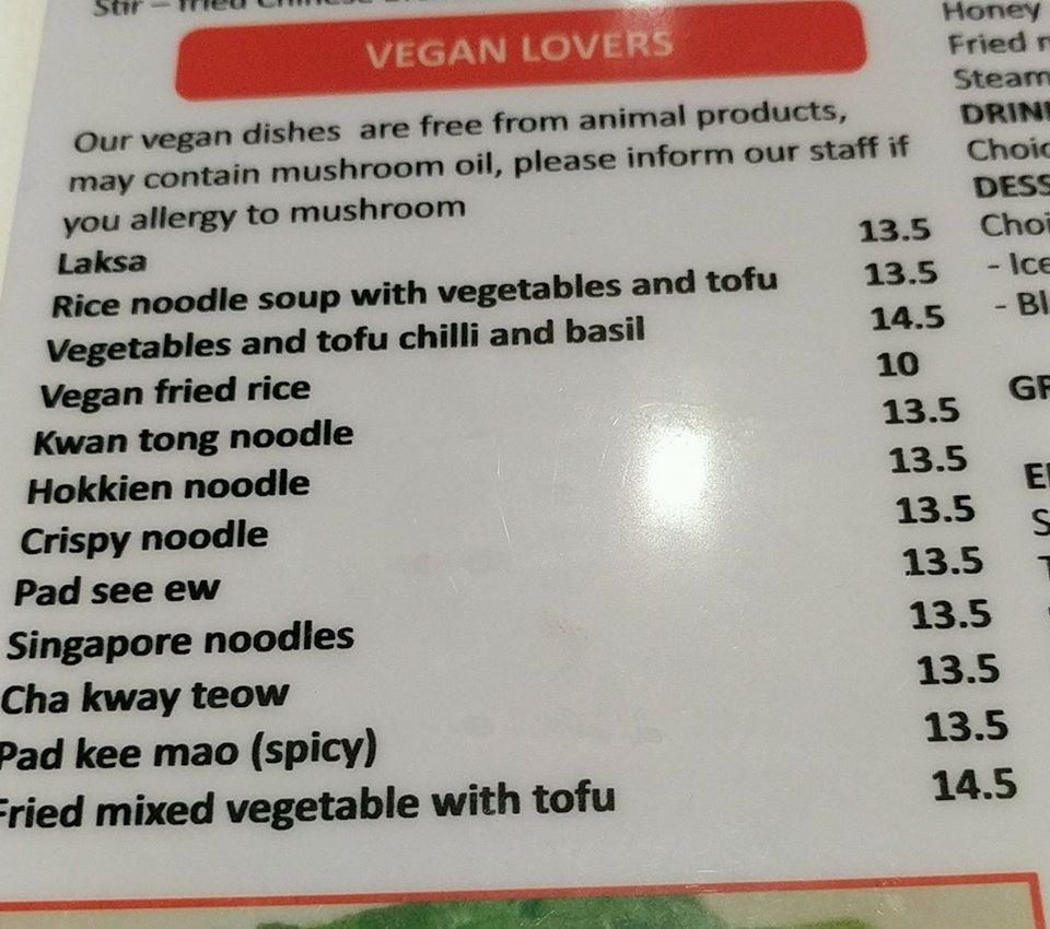 Asian Noodle House, Belconnen (Vegan Section of Menu)