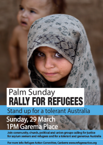 Vegan Presence at Palm Sunday Rally For Refugees – 29 March 2015