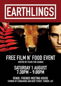 Films For Change Free Earthlings Screening and Supper – Saturday, 1 August 2015