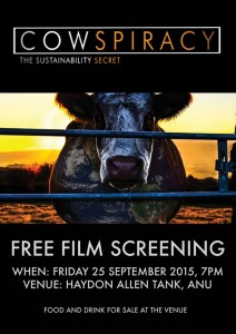 AnimalACTivism Collective Cowspiracy Screening – Friday, 25 September 2015