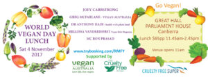 Inaugural World Vegan Day Lunch @ Parliament House – 4 November 2017